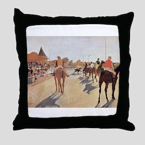 degas horse racing art Throw Pillow