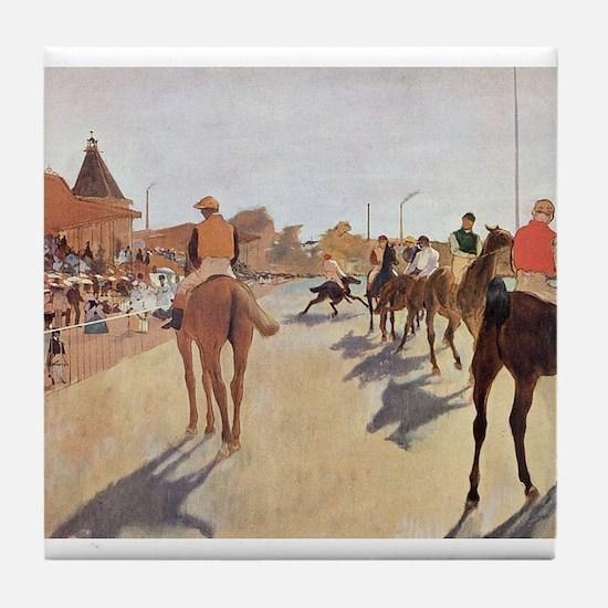 degas horse racing art Tile Coaster