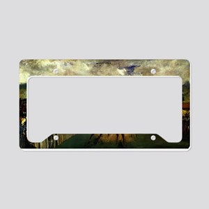 horse racing art by manet License Plate Holder