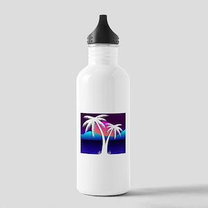 Vaporwave Palms at Sunset Water Bottle
