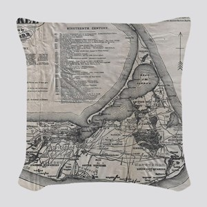 Vintage Nantucket Map Woven Throw Pillow