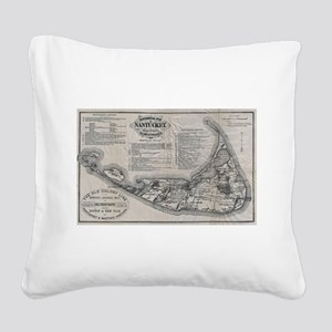 Vintage Nantucket Map Square Canvas Pillow