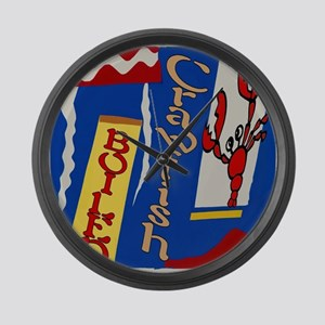 Abstarct Crawfish Boil Design Large Wall Clock