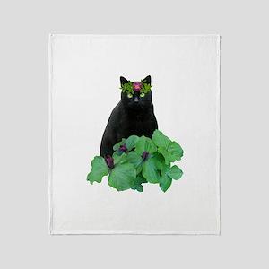 Black Cat Flowers Throw Blanket