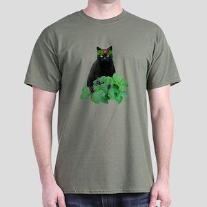Black Cat Flowers Dark T-Shirt