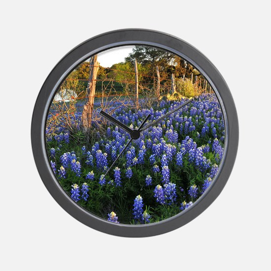 Bluebonnets and Fenceline Wall Clock