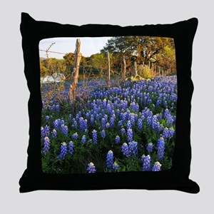 Bluebonnets and Fenceline Throw Pillow