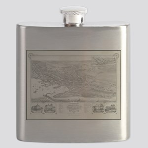 Vintage Pictorial Map of Nantucket (1881) Flask
