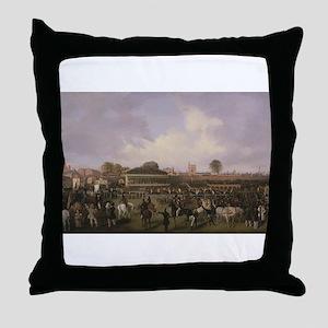 thoroughbred horse racing art Throw Pillow