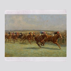 thoroughbred horse racing art Throw Blanket