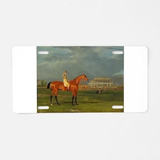 thoroughbred horse racing art Aluminum License Pla
