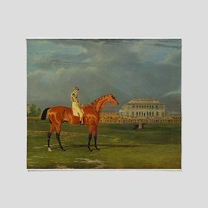 thoroughbred horse racing art Throw Blanket