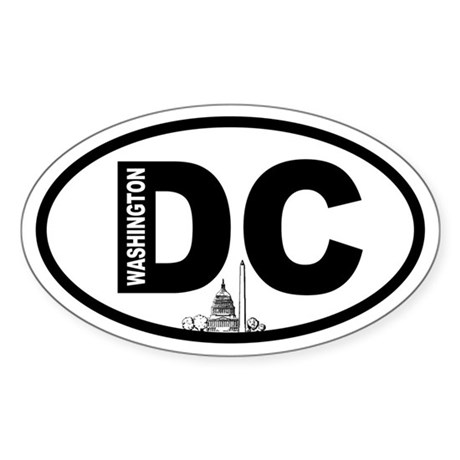 Washington DC Capitol and Monument Oval Sticker