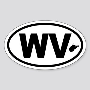 West Virginia Map Oval Sticker