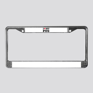 I Heart My Pug License Plate Frame