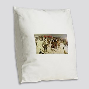 skiing art Burlap Throw Pillow