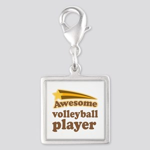Awesome Volleyball Player Silver Square Charm