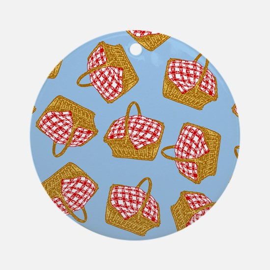 Picnic Basket Pattern Ornament (Round)