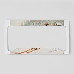 skiing art License Plate Holder