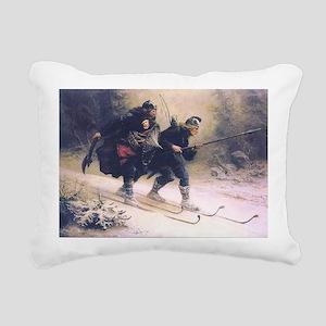skiing art Rectangular Canvas Pillow