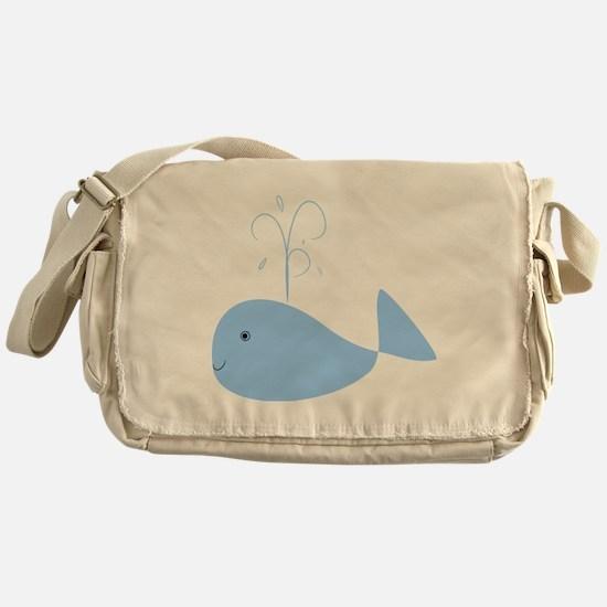 Chubby Pale Blue Whale Messenger Bag