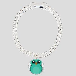 Teal Owl (cute) Charm Bracelet, One Charm