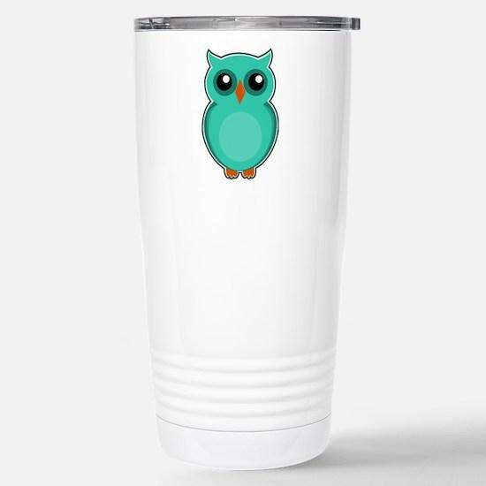 Teal Owl (cute) Stainless Steel Travel Mug