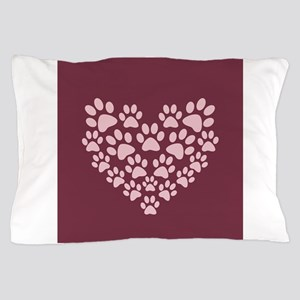 Maroon Heart with Paw Prints Pillow Case