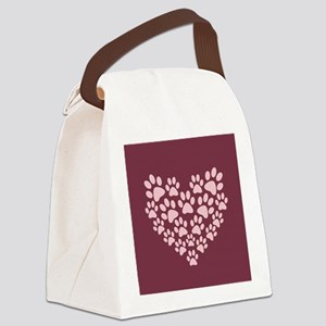 Maroon Heart with Paw Prints Canvas Lunch Bag