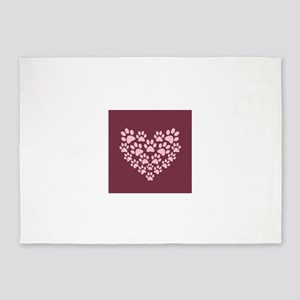 Maroon Heart with Paw Prints 5'x7'Area Rug
