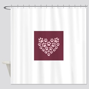 Maroon Heart with Paw Prints Shower Curtain