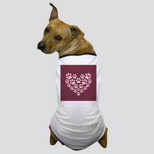 Maroon Heart with Paw Prints Dog T-Shirt