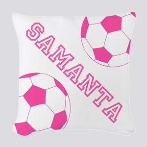 Soccer Girl Personalized Woven Throw Pillow