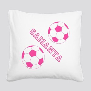 Soccer Girl Personalized Square Canvas Pillow