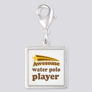 Water Polo Player Silver Square Charm