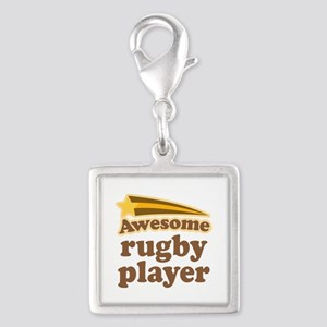 Awesome Rugby Player Silver Square Charm