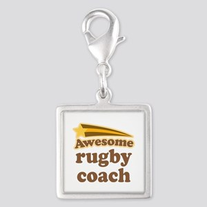 Awesome Rugby Coach Silver Square Charm