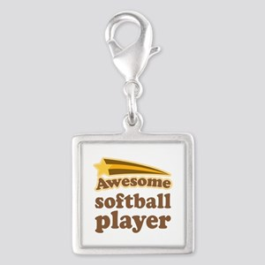 Awesome Softball Player Silver Square Charm
