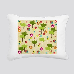 Tropical Island Palm Trees Hibiscus Pattern Rectan