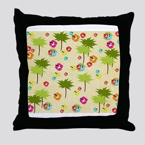 Tropical Island Palm Trees Hibiscus Pattern Throw