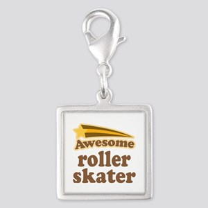 Awesome Roller Skater Silver Square Charm