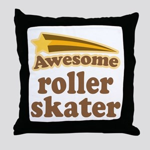 Awesome Roller Skater Throw Pillow