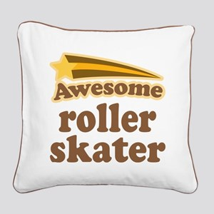Awesome Roller Skater Square Canvas Pillow