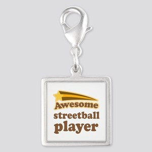 Awesome Streetball Player Silver Square Charm