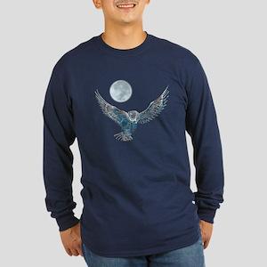 Snowy Owl Long Sleeve Dark T-Shirt