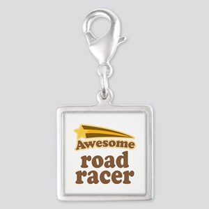 Awesome Road Racer Silver Square Charm