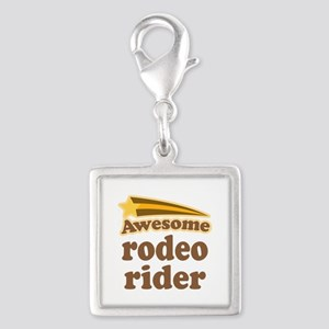 Awesome Rodeo Rider Silver Square Charm