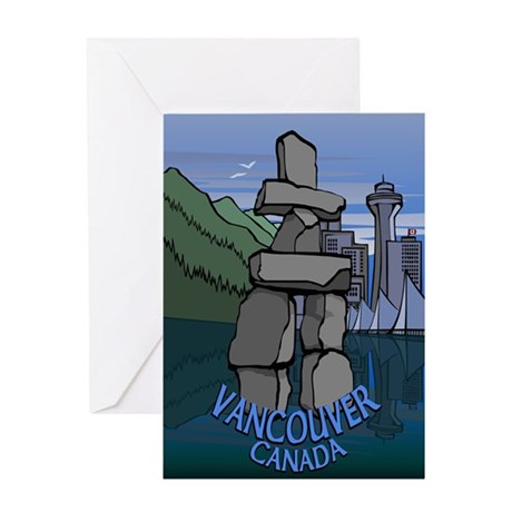 Vancouver BC Souvenir Greeting Card Inukshuk Art