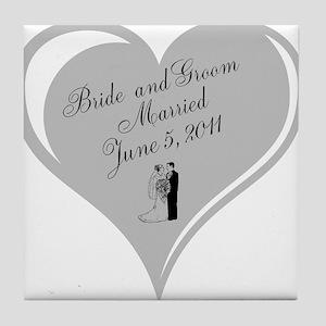 Bride And Groom Wedding Day Tile Coaster