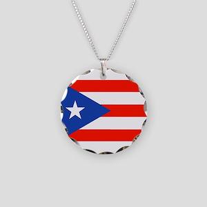 Boricua Bandera Puerto Rican Necklace Circle Charm